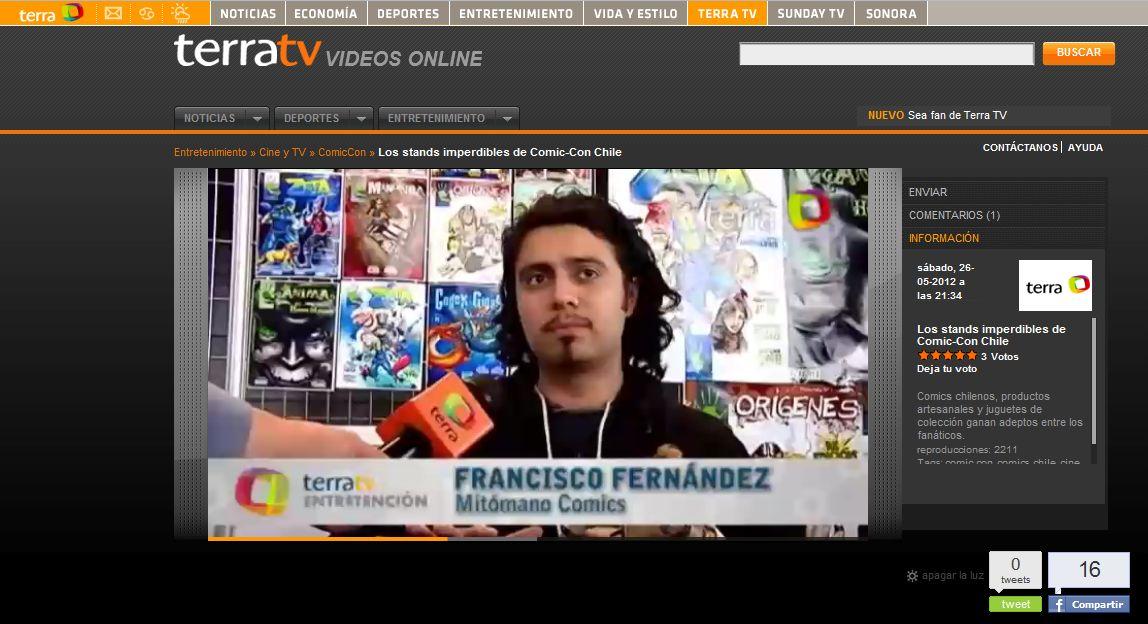 Mitomano Comics en Terra TV, considerado entre los stands imperdibles de Comic Con Chile 2012