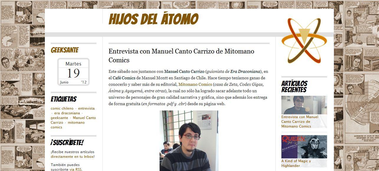 Hijos del Átomo entrevista a Manuel de Mitomano Comics